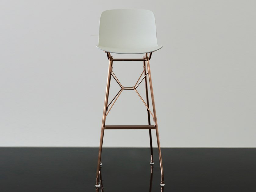 High polypropylene stool with back TROY | High stool by Magis