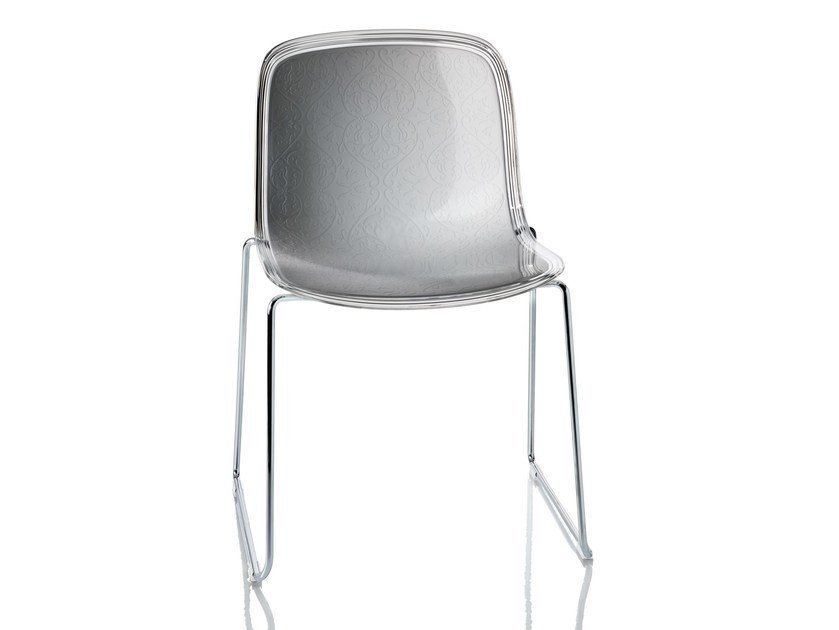 Sled base stackable polycarbonate chair TROY | Sled base chair by Magis