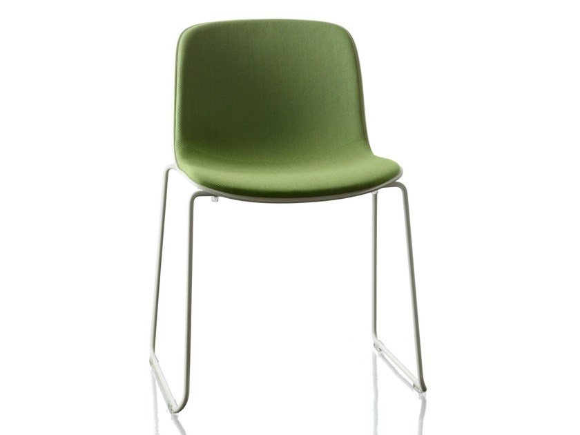 Sled base upholstered fabric chair TROY | Upholstered chair by Magis
