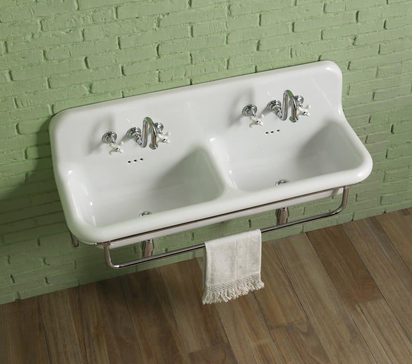 Double wall-mounted washbasin with towel rail TRUECOLORS | Ceramic washbasin by BLEU PROVENCE