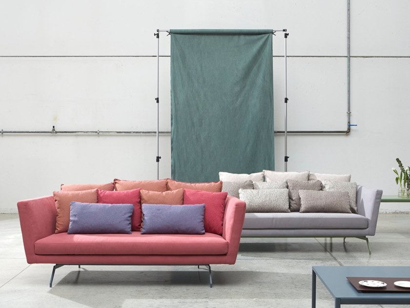 Fabric sofa with removable cover TUB by H&Co