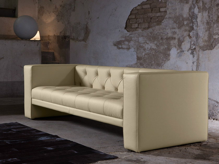 Tufted 3 seater leather sofa TUBBY | Leather sofa by Domingo Salotti