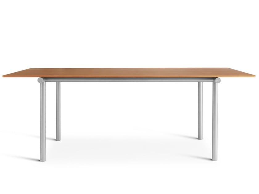 Rectangular aluminium and wood table TUBBY TUBE | Aluminium and wood table by PLEASE WAIT to be SEATED
