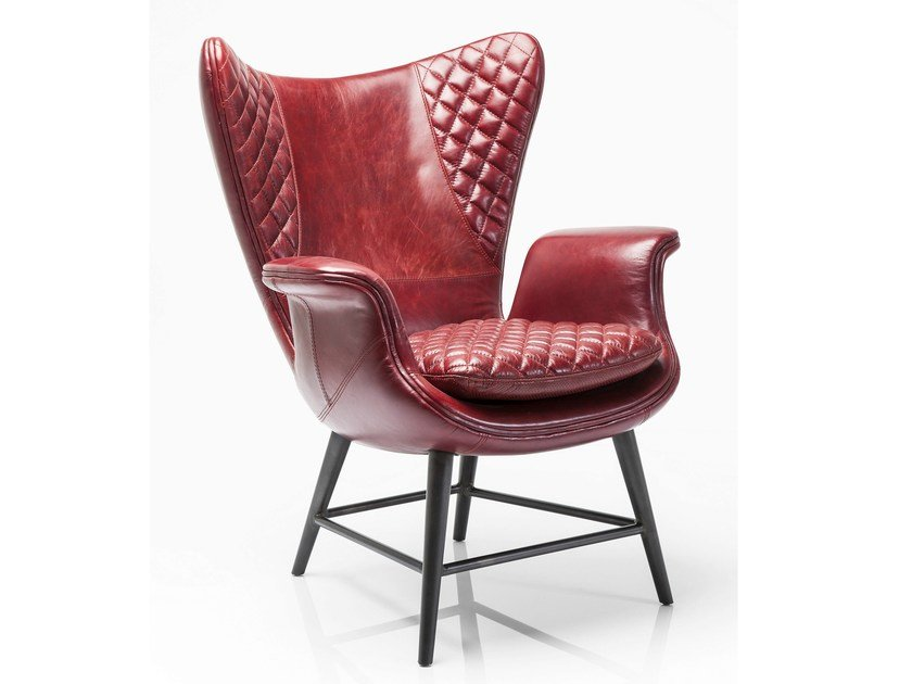 Leather armchair with armrests TUDOR VELVET by KARE-DESIGN