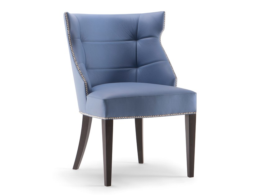 Tufted leather chair with armrests DEVON | Tufted chair by Tirolo