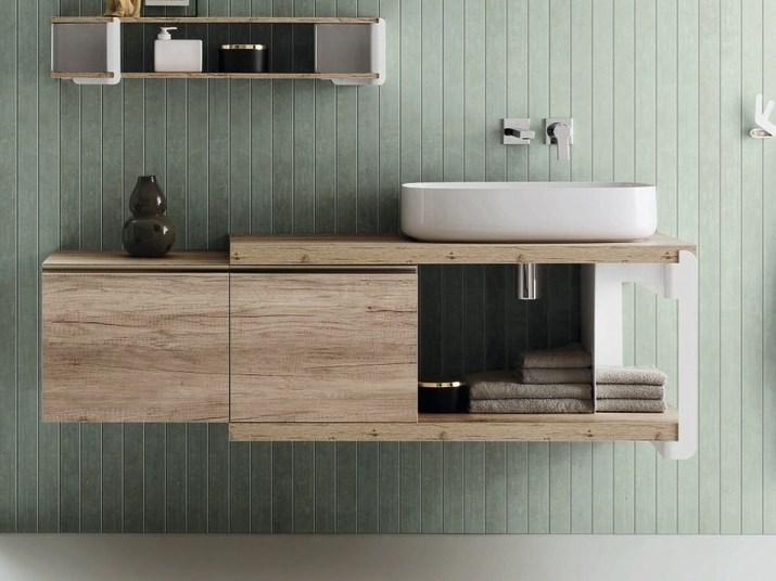 Wall-mounted vanity unit with drawers TULIP | Vanity unit by ARBLU