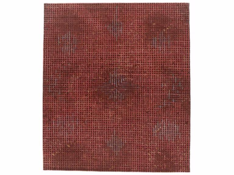 Handmade rectangular rug TUMULTE RED by Golran