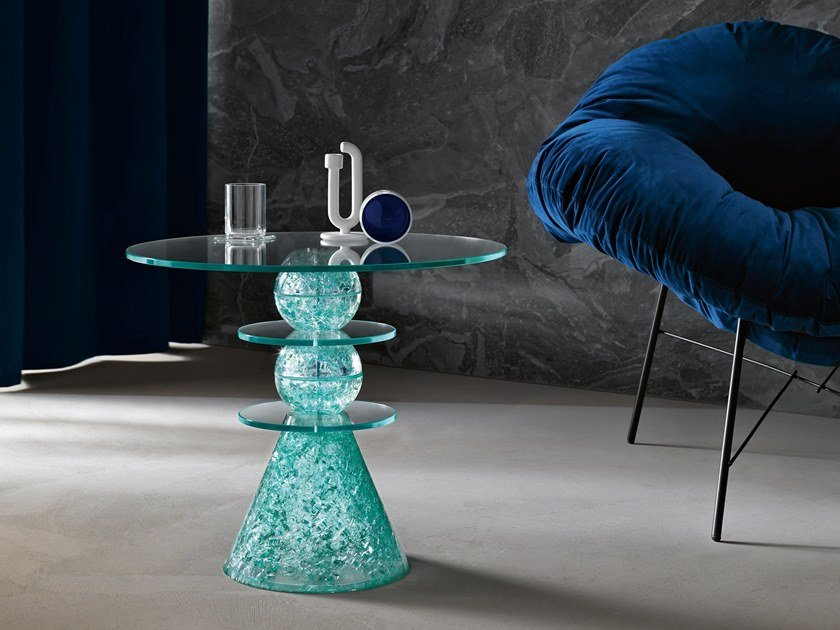 Handmade glass side table TURCHINA by Tonelli Design