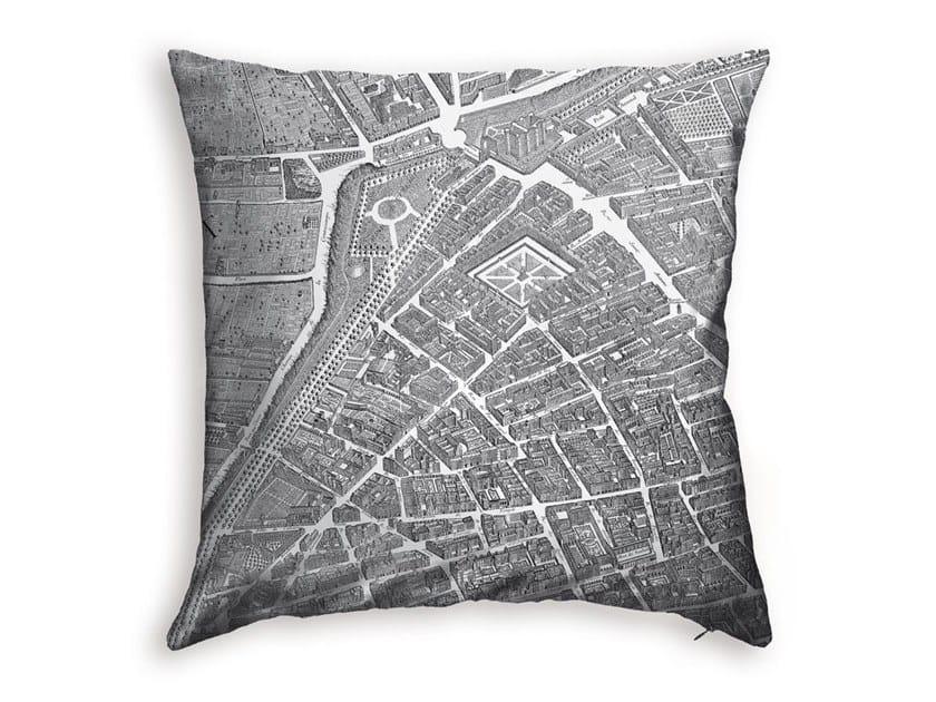 Square polyester cushion TURGOT MAP OF PARIS - LA BASTILLE by Koziel