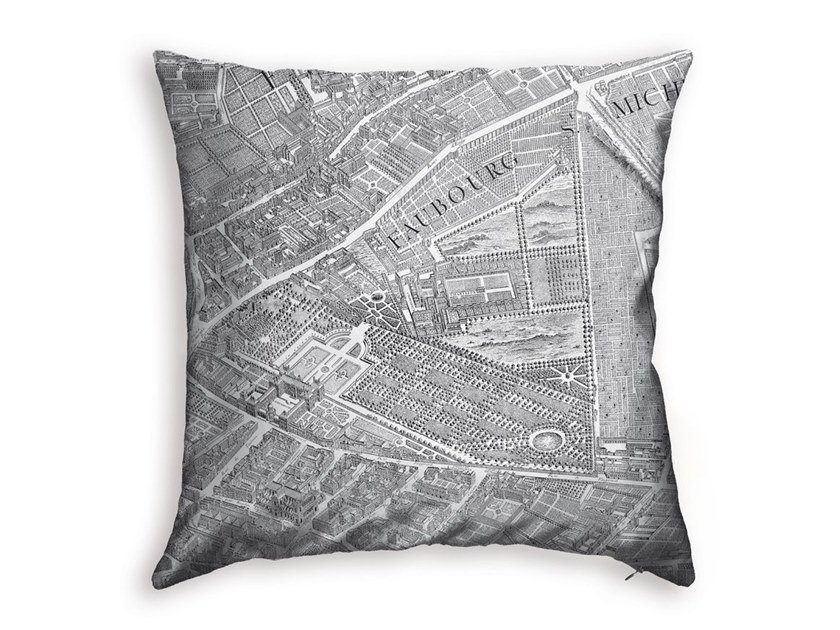Square polyester cushion TURGOT MAP OF PARIS - LUXEMBOURG GARDENS by Koziel