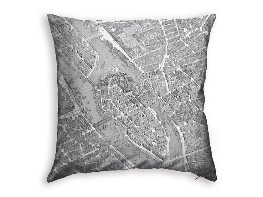 Square polyester cushion TURGOT MAP OF PARIS - NOTRE DAME by Koziel