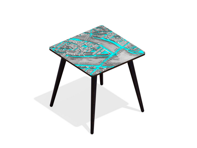 Square beech wood and HPL coffee table TURGOT PONT NEUF M CYAN | Square coffee table by Bazartherapy