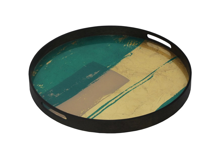 Round glass tray TURQUOISE ABSTRACT by Notre Monde