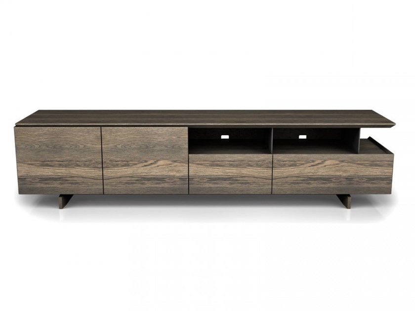 Oak TV cabinet with doors with drawers AGORÀ | TV cabinet by Huppé
