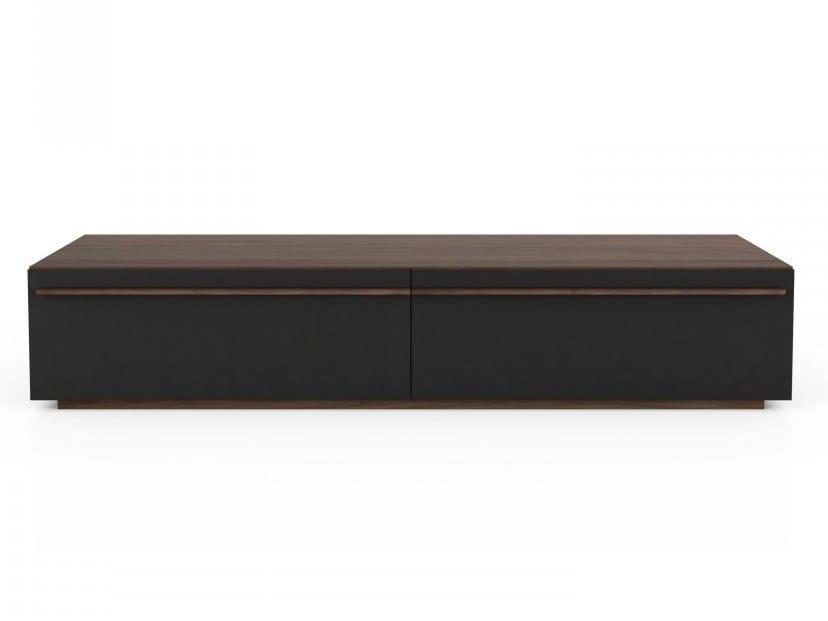 Low walnut TV cabinet with flap doors SCENE | TV cabinet by Huppé