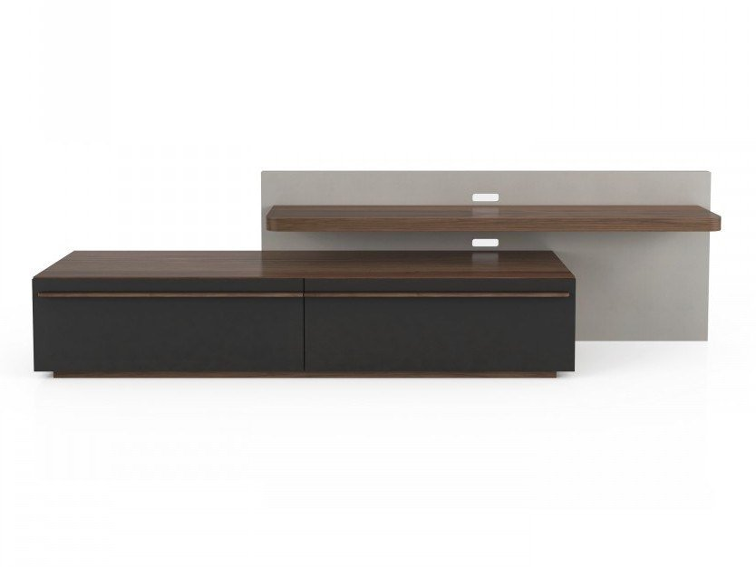 Low walnut TV cabinet with shelves SCENE   TV cabinet with shelves by Huppé