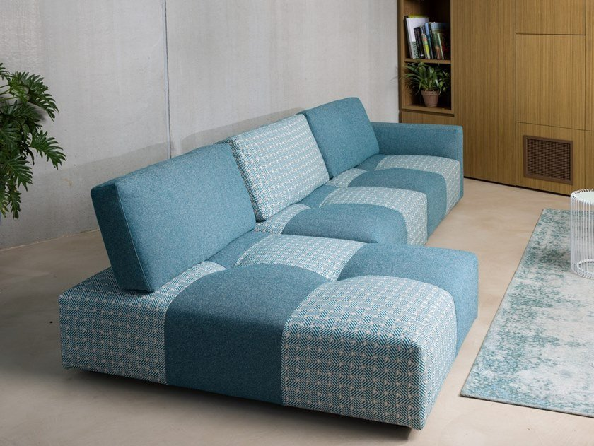 Modular fabric sofa with removable cover with chaise longue TWEET | Sofa with chaise longue by Gobbo Salotti