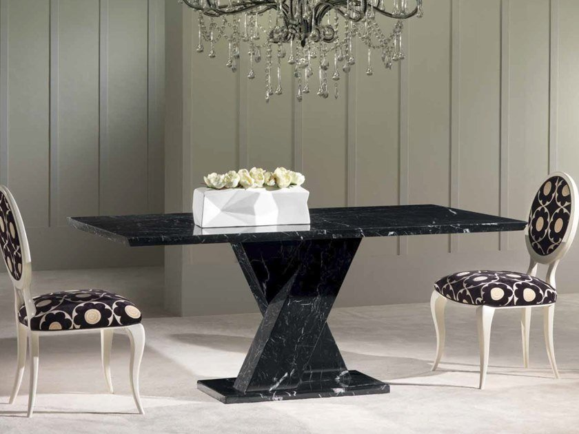 Rectangular Nero Marquina marble table TWID   Table by International Marmi