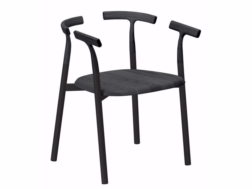 Aluminium and wood chair with armrests TWIG 4 - 10C by Alias