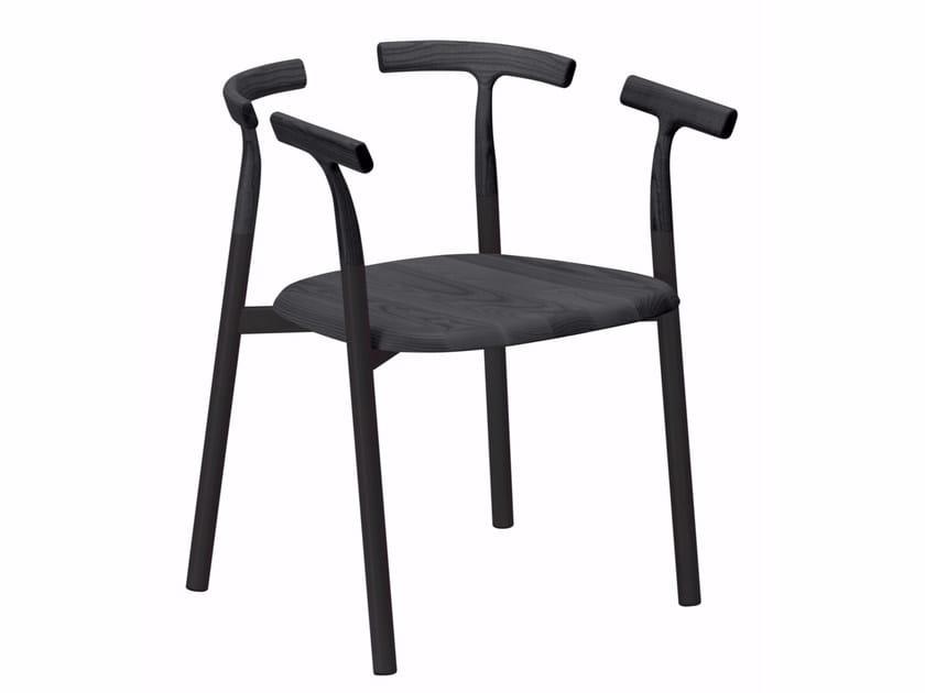 Sedia in alluminio e legno con braccioli TWIG 4 - 10C by Alias