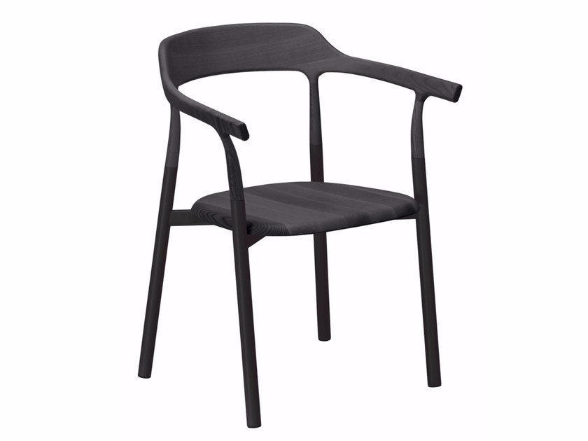 Aluminium and wood chair with armrests TWIG COMFORT - 10E by Alias