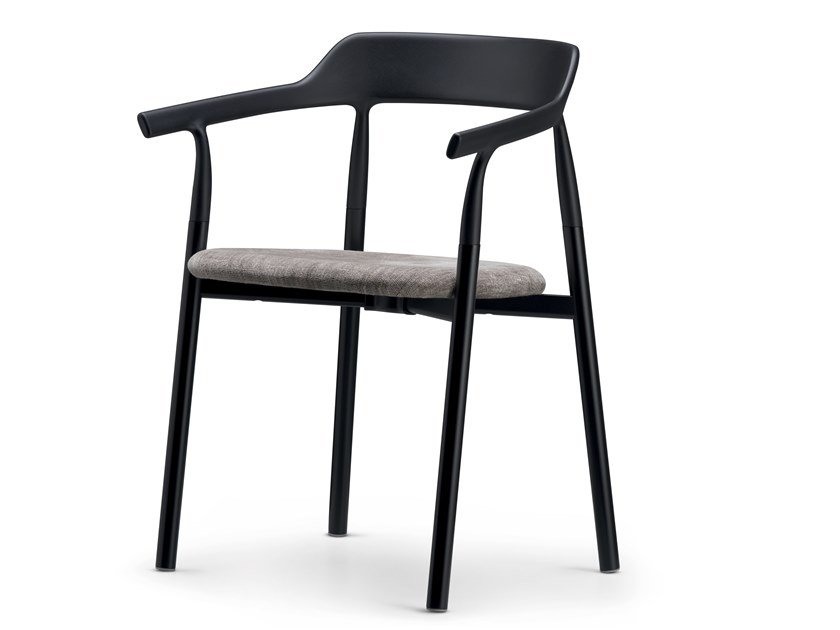 Plastic chair with armrests with integrated cushion TWIG COMFORT / 10E | Chair with integrated cushion by Alias