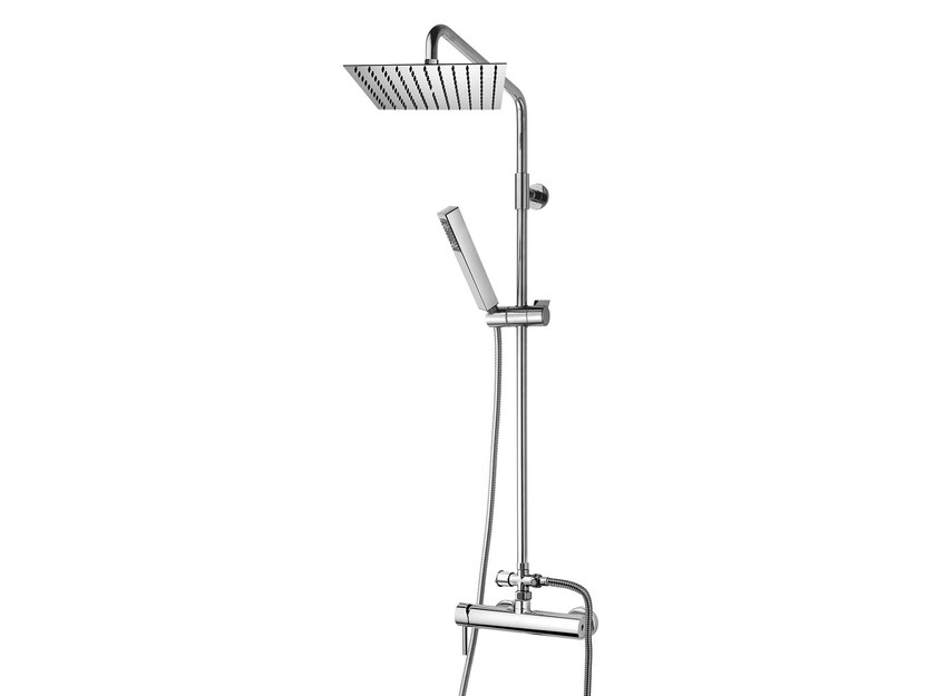 Wall-mounted shower panel with hand shower Twiggy Column - 250 x 250 mm by Bossini