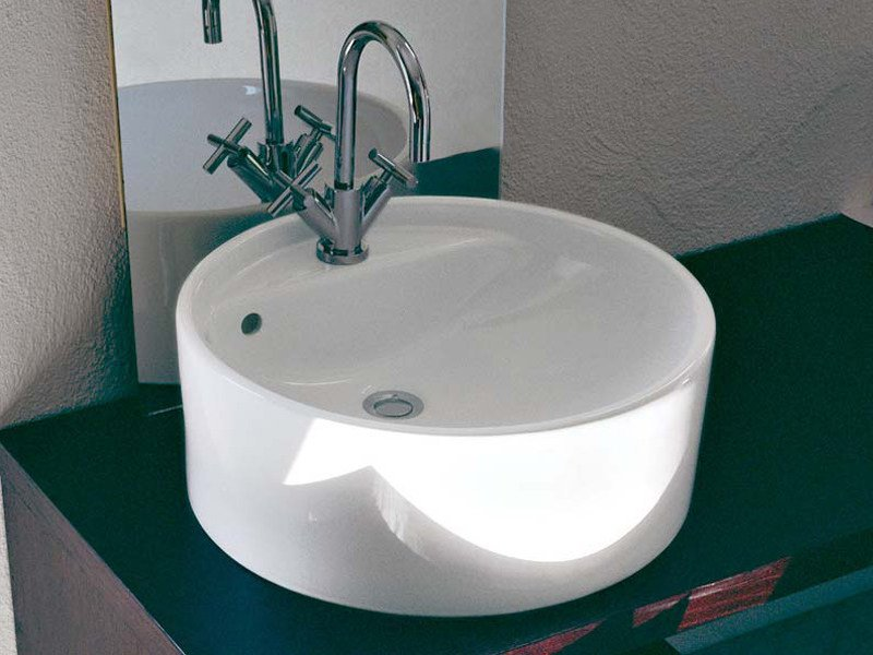 Countertop ceramic washbasin TWIN SET 42 | Countertop washbasin by CERAMICA FLAMINIA