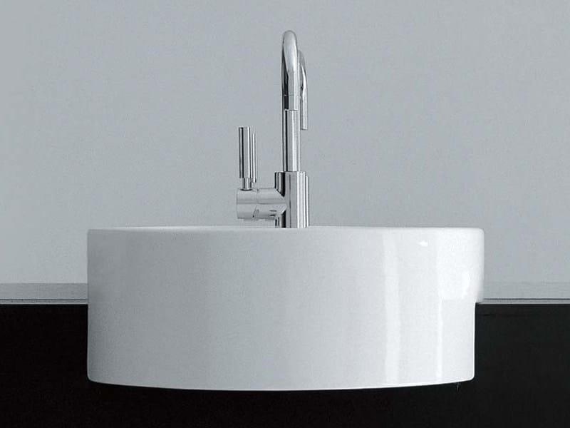 Semi-inset ceramic washbasin TWIN SET 42 | Semi-inset washbasin by CERAMICA FLAMINIA