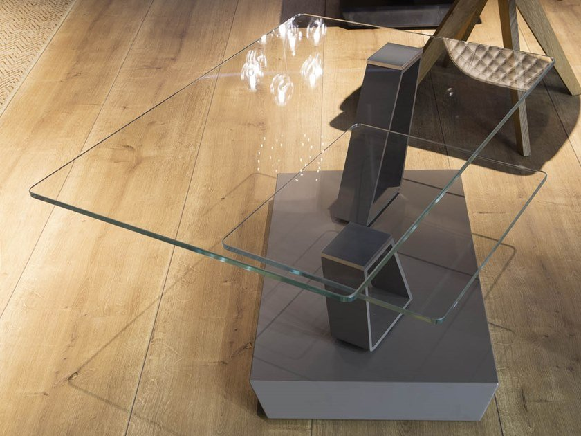 Low swivel crystal coffee table TWIST | Crystal coffee table by Ozzio Italia
