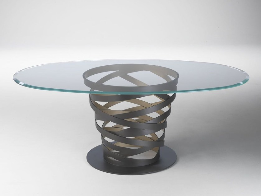 Oval glass and steel table TWIST GOLD by Paolo Castelli