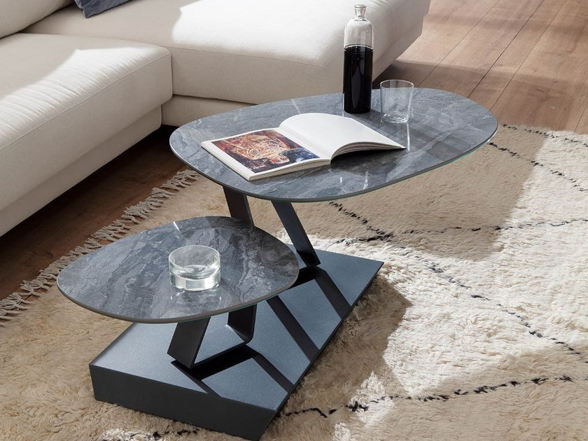 Low glass coffee table TWIST SASSO | Glass coffee table by Ozzio Italia