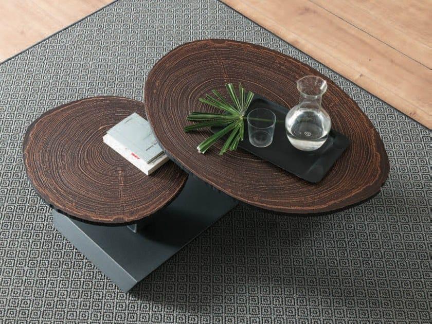Low swivel wooden coffee table TWIST TRONCO by Ozzio Italia