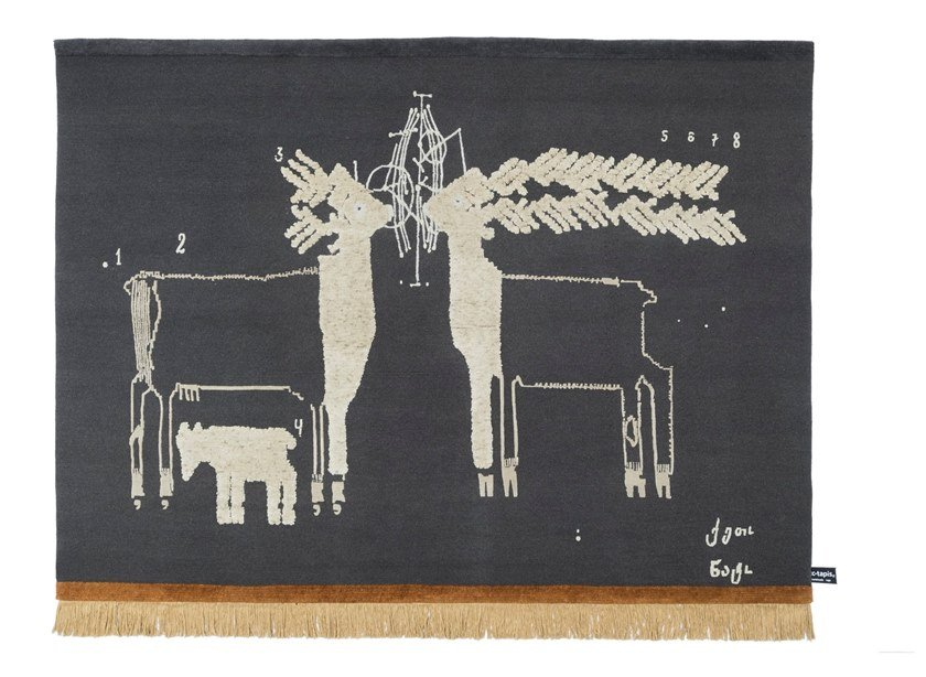 Handmade rectangular rug TWO DEERS by cc-tapis