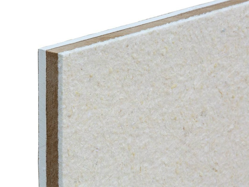 Sound insulation and sound absorbing panel in mineral fibre TXT® Woodgipsline by ETERNO IVICA