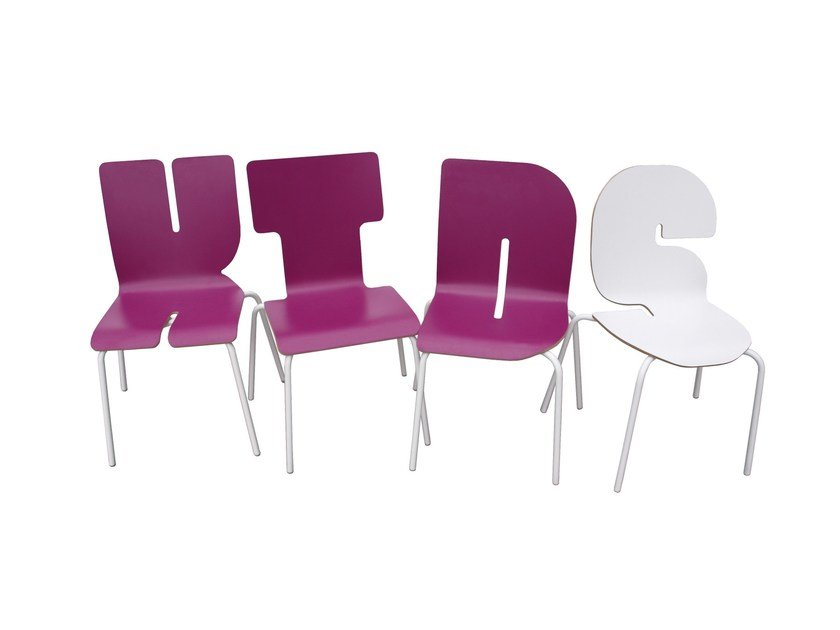 Stackable Formica© kids chair TYPOGRAPHIA KIDS by TABISSO