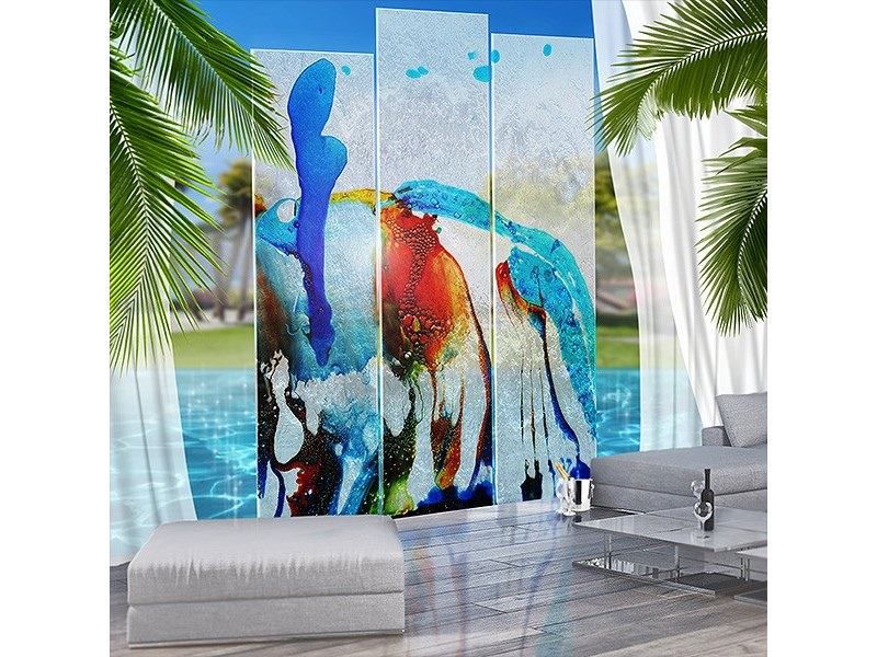 Decorated glass garden partition UCCELLO DEL PARADISO by Unica by Tecnotelai