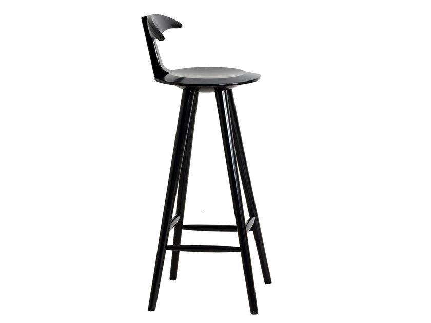 High solid wood stool with back UDITA   Lacquered stool by ALANKARAM
