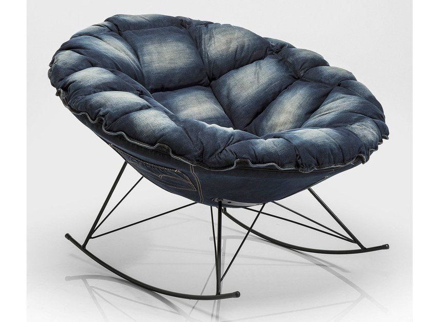 Rocking denim fabric armchair UFO JEANS by KARE-DESIGN