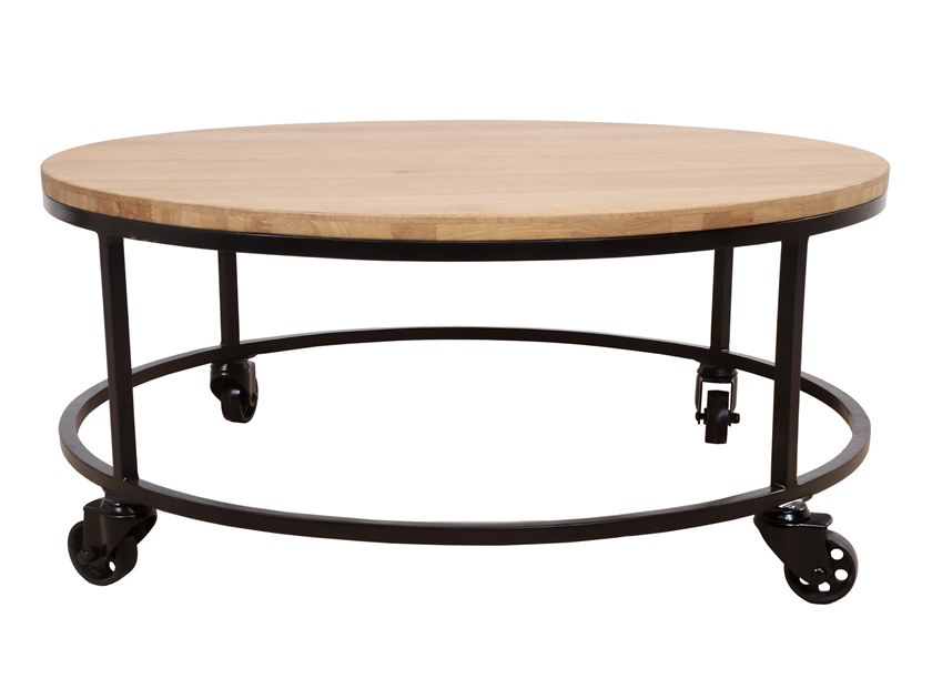 Oval English oak and metal coffee table with casters UILI | Oval coffee table by ALANKARAM