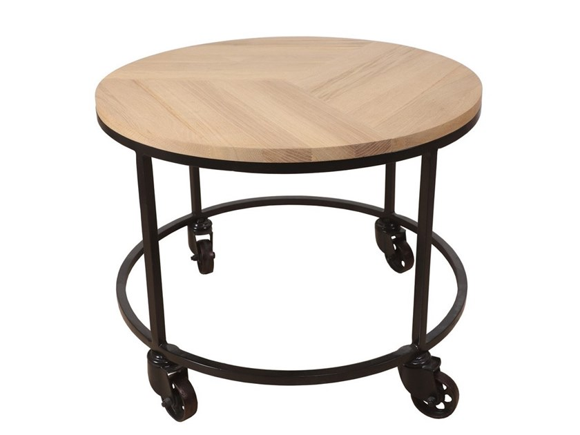 Round English oak and metal coffee table with casters UILI | Round coffee table by ALANKARAM