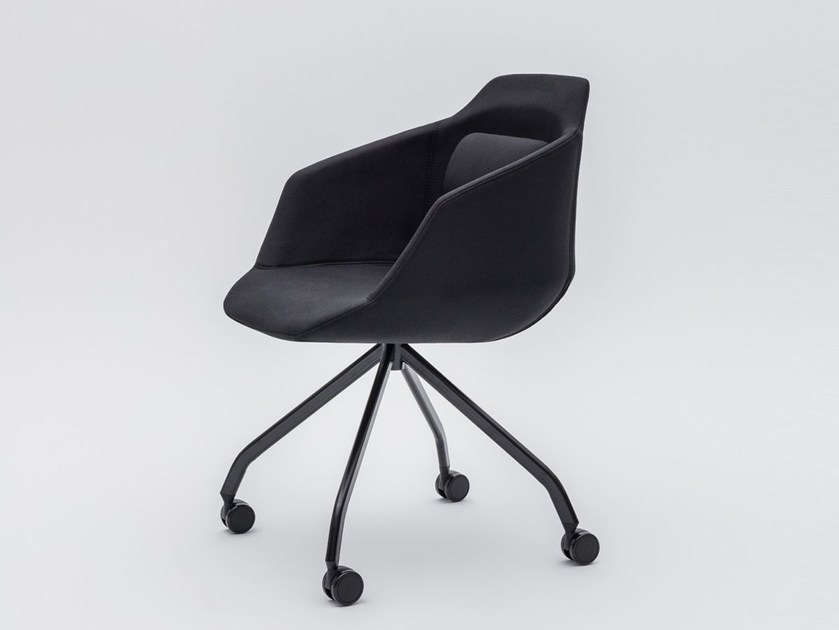 Swivel trestle-based fabric chair with armrests ULTRA P7KM, P7KT by MDD