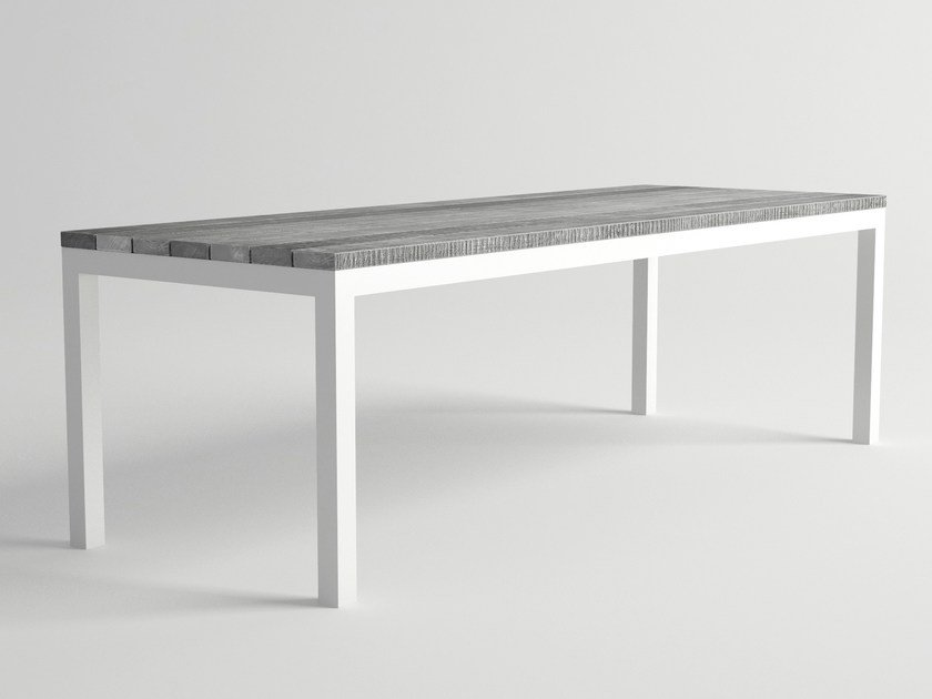 Rectangular aluminium and wood garden table ULTRA | Garden table by 10Deka