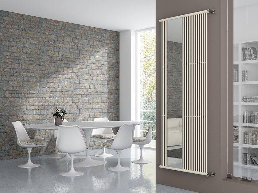 Vertical wall-mounted glass and steel decorative radiator ULTRA RFX + ULTRA RFX S by XÒ by Metalform