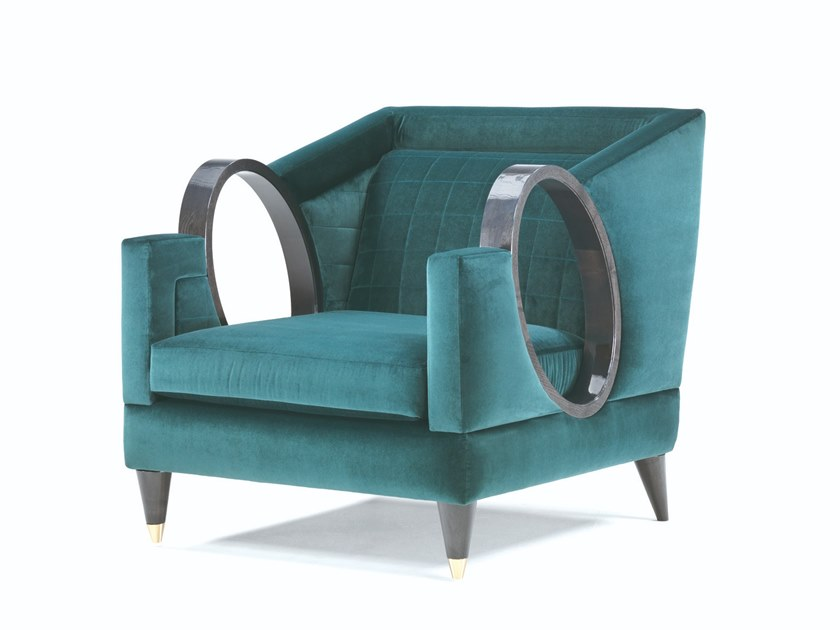 Deco fabric armchair with armrests ULYSSE | Deco armchair by Elledue Arredamenti