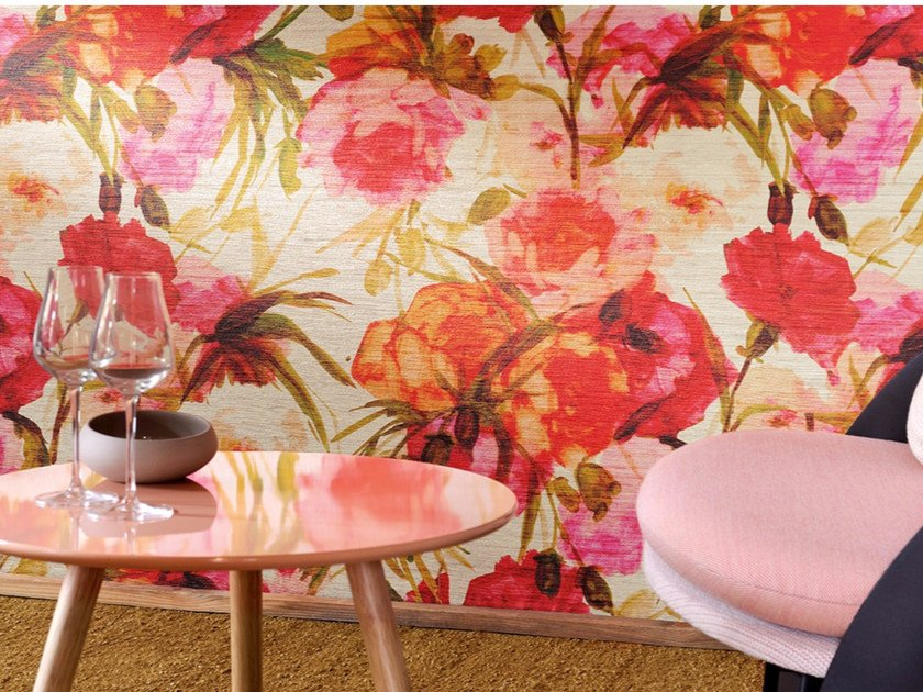 Washable vinyl wallpaper with floral pattern UNA BELLA STORIA by Élitis