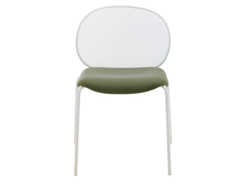 Steel garden chair with integrated cushion UNBEAUMATIN | Garden chair by Ligne Roset