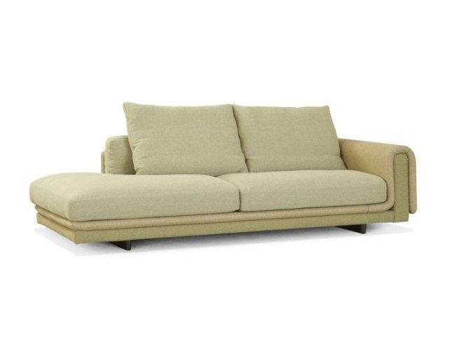 Leather sofa with chaise longue UNDERLINE | Sofa with chaise longue by ROCHE BOBOIS