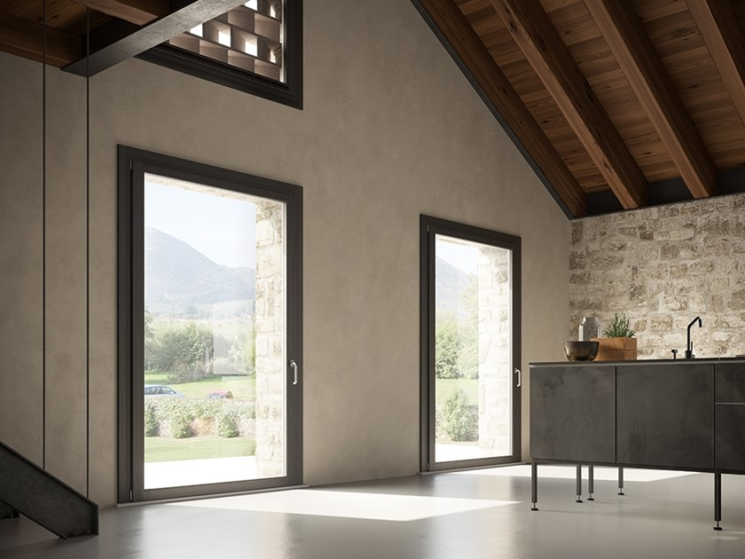 Porta finestra a battente in alluminio e legno unica - Porta finestra alluminio ...