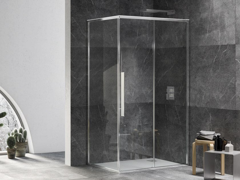 Corner shower cabin with sliding door UNICO SF+F1 by RELAX